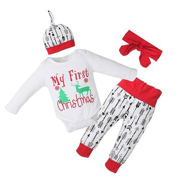 Christmas Baby Girl Boy Letter Deer Print Romper Arrow Shorts Hat Headband Outfits Newborn Christmas Clothes