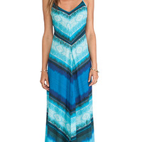 Twelfth Street By Cynthia Vincent Mitered Striped Maxi Dress in Blue