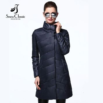 women jacket Spring slim thin coat women solid long parka warm coats outerwear zipper SnowClassic new arrival high quality 2017