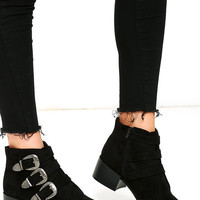 Belt Out Black Belted Suede Ankle Booties