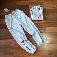"""Burberry"" Unisex Loose Casual Rainbow Letter Embroidery Leisure Pants Couple Sweatpants Trousers"