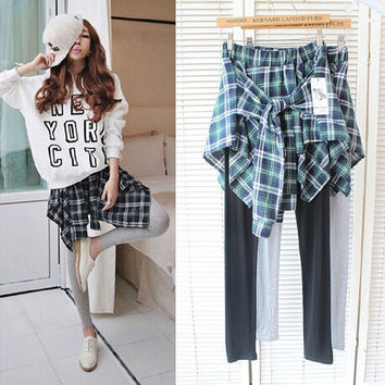 Korean Bottom & Top Plaid Shirt Dress Pants Leggings Cropped Pants [6339069825]