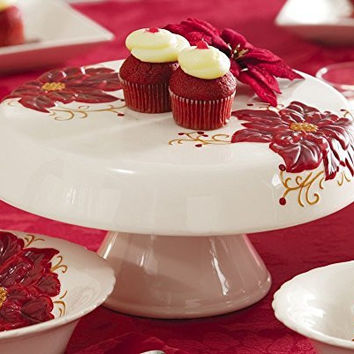 White Red Flower Poinsettia Heavy Duty Ceramic Pedestal Cake Stand