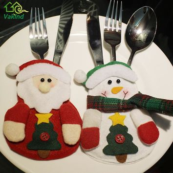 3Pcs/lot Christmas Stocking Bags Dining Table Knife Fork Holder navidad Santa Claus Christmas Decoration Party Supplies