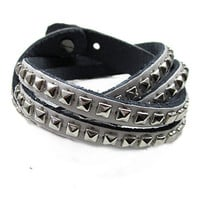Punk Rock Style White Real Leather Bangle Couple Bracelet Women Leather Cuff Bracelet   SL0360-W