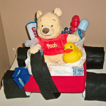 baby shower Little Red Wagon Winnie the Pooh diaper cake table centerpiece or baby gift boy,  girl, neutral or unisex