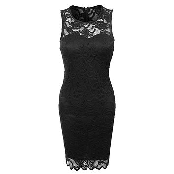 LE3NO Womens Fitted Floral Lace Scalloped Sleeveless Bodycon Midi Dress