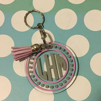monogram key chain, personalized key chain, tassel key chain, acrylic keychain, monogrammed gift, initial key chain, gift for her