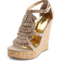 Kiltie-Fringe Sueded Wedge