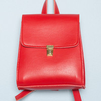 Gold Buckle Red Mini Backpack - Bags & Backpacks - Accessories