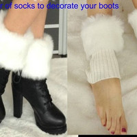 Women fashion Winter socks with faux fur boot socks fur socks decorated boot socks = 1931783556