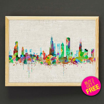 Chicago Skyline Watercolor Art Print Tennessee Cityscape Poster House Wear Wall Art Decor Gift Linen Print - Buy 2 Get FREE - 166s2g