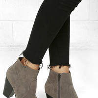 Aubrey Grey Suede Ankle Booties