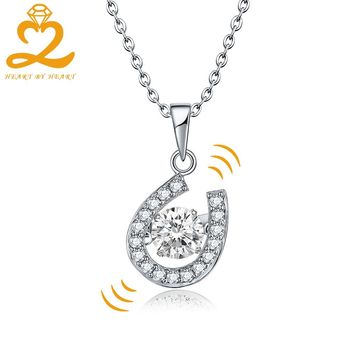 Heart By Heart Sets Necklace for Women and Girls Silver Pendant Chain Dancing Topaz U Shape 925 Sterling Silver Fine Jewelry