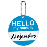 Alejandro Hello My Name Is Round ID Card Luggage Tag