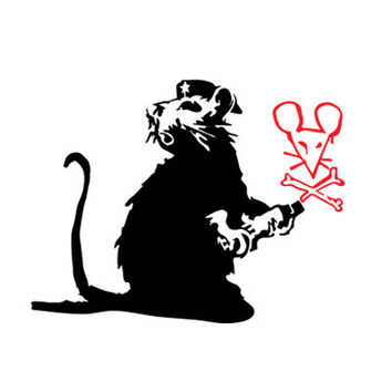 7 inches wide Banksy Vinyl Decal / Sticker suitable for wall, car, door, window, etc. - rat drawing mouse on wall vandal rebel