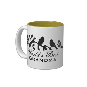 World's Best Grandma sparrows silhouette love bird Mug