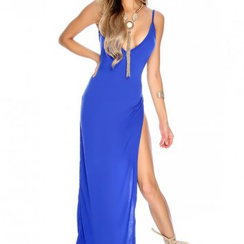 Sexy Blue Sleeveless V-Neck Leg Slit Maxi Party Dress