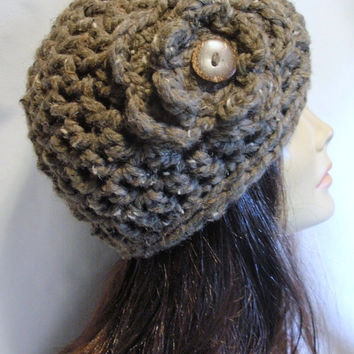 Women's Crochet Handmade Hat / BARLEY / Winter Accessory / Beanie / Flower Coconut Button / Gift for Her / Mother, Sister, Niece, Aunt