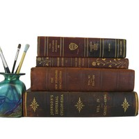 Decorative Leather Books, S/4