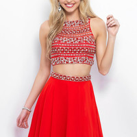 Blush - 11378 Beaded Two Piece Halter A Line Cocktail Dress