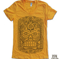 Womens DAY Of The DEAD TShirt american apparel S M L by ZenThreads
