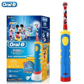 Oral B Children Braun Electric Toothbrush D10 Music Timer Rechargeable Sonic Tooth Brush Mickey Mouse for Kids  Ages 3+