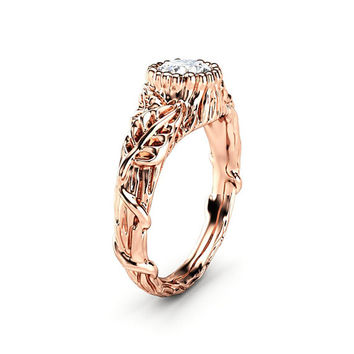 Moissanite Engagement Ring Rose Gold Ring Leaf Engagement Ring Twig Gold Ring