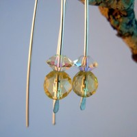 Lemon Quartz and Swarovski Crystal Modern Sterling Silver Earrings