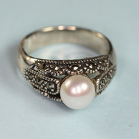 Cultured Pearl Marcasite and Sterling Ring
