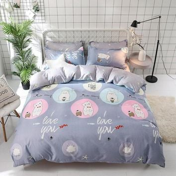 Panda Bear design bedding sets bed flat sheet duvet cover pillowcase soft and comfortable King Queen Full 4pcs Twin 3pcs