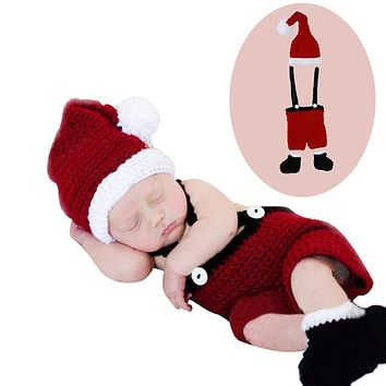 Cute Newborn Baby Girl Christmas Crochet Outfits Photography Costume Photo Props