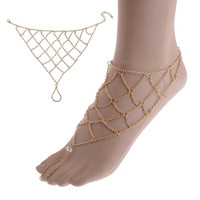 1pc Boho Gold anklet for women leg bracelet Feet Jewelry Barefoot Sandals Retro ankle chain Foot jewellery Summer Beach 2016