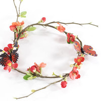 Fairy Woodland Crown Handmade Blossom Butterfly Tiara Wedding Costume Headpiece