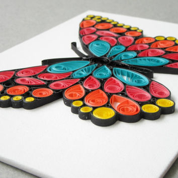 Colorful Butterfly Art, Butterfly Canvas Art, Paper Quilled Butterfly, Gift  For Women,