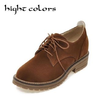 Retro British Style Suede Leather Shoes Woman Round Toe College Style Korean Student Shoes Oxfords For Ladies ln with Size 34-43