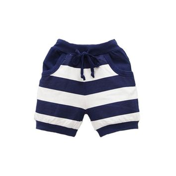 Hot Shorts Baby  Pure Cotton Children Striped New Clothes Boys Sports Clothing 2018 Little Q Elastic Waist SuitsAT_43_3