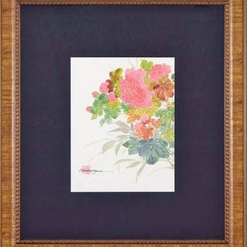 Floral - Original Gouache Painting on Mother of Pearl Paper by Caroline Young