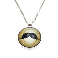 Mustache Necklace, Moustache Necklace, Picture Necklace, Mustache Jewelry, Hipster Necklace, Steampunk Necklace, Mustache Pendant, Movember