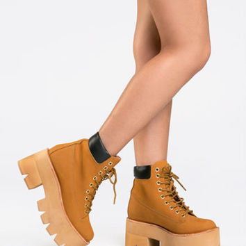 New JEFFREY CAMPBELL NIRVANA Women Platform Lace Up Work Boot Bootie Wheat Tan