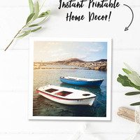 Greece photography download, nautical printable photography, square wall art, boat print, travel photos, bathroom wall art, instant download