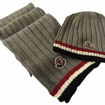 Moncler Fashion Casual Beanies Knit Winter Hat Cap Scarf Scarves Set Two-Piece G