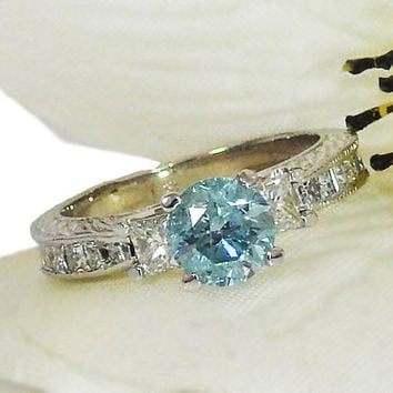 Blue Diamond Ring Unique Ring Engagement Ring Diamond Ring crafted in 18K White gold