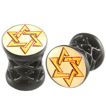 Shield Of David Logo Double-Flared Plug [Gauge: 2G - 6mm] Alloy (Black) // Set of 2