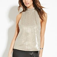 Contemporary Mock Neck Sequin Top