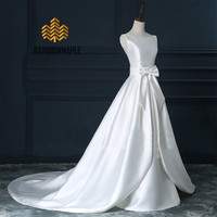 White Satin Wedding Dresses Backless With Detachable Train A-Line Wedding Dresses For Women Bridal Dresses Wedding Gowns AL35