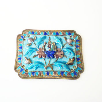 Antique Chinese Export Ronde Bosse Enamel Plaque Sterling Silver Ornament Jewelry Box Decor