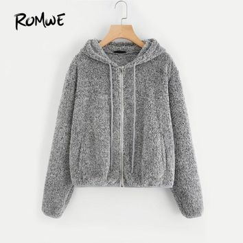 Trendy ROMWE Grey Zip Up Fuzzy Hoodie Jacket Plain Hoodie Dropped Shoulder Seam Drawstring Women Clothing Zipper Casual Jacket AT_94_13
