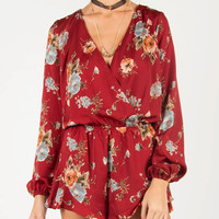 Front Draped Silky Floral Long Sleeve Romper - Wine