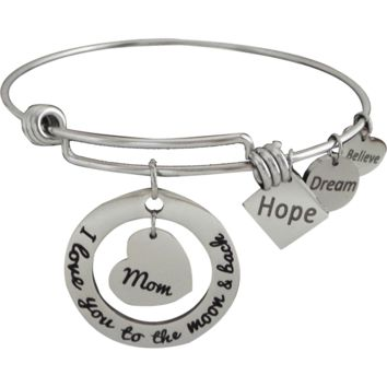 Expandable Bangle I Love You to the Moon and Back Mom